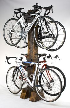 back rack made from railroad ties, perfect for the garage or basement.    www.railroadstudios.com