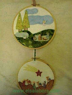 Nacimiento hecho con botones por Margarida S. Nativity Crafts, Christmas Crafts, All Things Christmas, Christmas Fun, Holy Night, Decorative Plates, Quilts, Embroidery, Diy