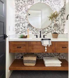 36 Trendy Bathroom Mirror Ideas Storage Home Decor Bad Inspiration, Bathroom Inspiration, Ideas Baños, Decor Ideas, Vanity Shelves, Wood Vanity, Storage Shelves, Sink Shelf, Storage Mirror