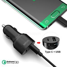 Tronsmart 33W USB + USB Type C Car Charger with Quick Charge 3.0 Dual Port Charger to deliver fast charging for your iPhone, iPad, Macbook, Samsung Galaxy, Nexus, LG, HTC, Tablet and More!