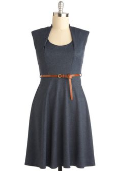 Now and Denim Dress - Long, Blue, Solid, Sleeveless, Belted, Holiday Sale    Mod Cloth Curvy Size