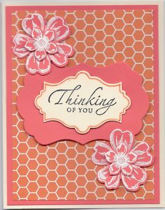 MFT Well Worn Greetings die set, SU Apothecary Accents die set, Thinking of You sentiment from SU's Sincere Salutations (retired), SU Flower Shop stamp set, SU Petite Petals stamp set (matching small flower punch). SU Pansy punch (matches the Flower shop stamps. SU  The combination of those two stamp sets and the two matching punches is an absolute must to have.