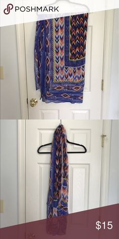 Stella & Dot blue and coral scarf. EUC. Large rectangular sheer scarf. Worn only a few times. Tags removed. Bundles and reasonable offers encouraged. Stella & Dot Accessories Scarves & Wraps