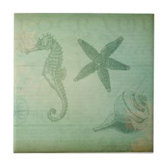 Vintage Ocean Animals and Seashells Tiles:   Vintage collage with ocean animals including a sea horse, starfish, and a seashell, all on a pale blue and sea green antiqued background. There is also an image of a compass and a map and some writing from a geography book. This ocean-themed collage is made from ephemera from the early 1900's and makes a unique gift when printed on any of the products available.   #vintage #oceanseashells #ceramictile #top50onzazzle