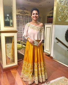 30 Latest Lehenga Saree Blouse Designs to inspire you - Wedandbeyond Pakistani Dresses, Indian Dresses, Indian Outfits, Red Lehenga, Anarkali, Lehenga Choli, Sarees, Indian Skirt, Indian Blouse