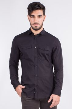 Slim Fit Cotton Shirt In Chest Pockets