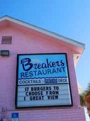 The Breakers Restaurant, New Smyrna Beach, Florida.  Wonderful burgers and crispy french fries. Awesome view of the ocean.  One of my favorites.