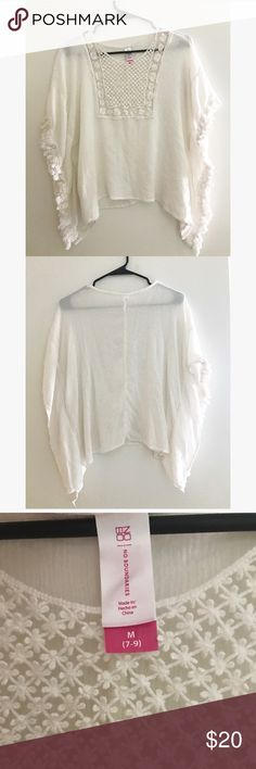 Beach cover up or top! Cream/white color, fringe on the arms, design on the chest. Brand new, never worn before, in perfect condition No Boundaries Swim Coverups