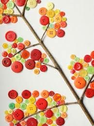 TWIG ART.  find a twig that is dry and looks like a small tree.  find a bunch of buttons.  stick them in bunches on the end of the branches of your small tree.