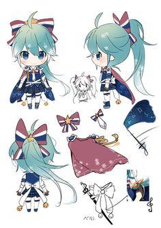 Character Sheet, Character Art, Anime Chibi, Anime Art, Miku Cosplay, La Art, Character Design Inspiration, Hatsune Miku, Art Reference