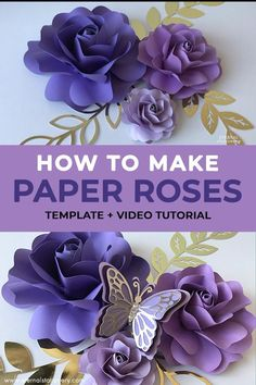 Click through to tutorial and template Paper Flower Patterns, Paper Flowers Craft, How To Make Paper Flowers, Paper Flower Wall, Paper Flower Tutorial, Giant Paper Flowers, Flower Crafts, Diy Flowers, Paper Flowers Wall Decor