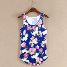 2017 Summer Women's Tank Tops Printed Flower Casual Fitness Top Vest Ladies Milk Silk Sleeveless Casual Vest Tshirt Womens Top
