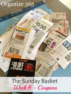 The Sunday Basket: Week 8 - Coupons Basket Organization, Clutter Organization, Household Organization, Paper Organization, Coupon Organization, Organizing Ideas, Organized Mom, Getting Organized, Life On A Budget