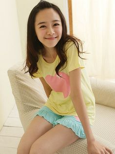 Heart Pajama Set With Ruffled Shorts - Yellow