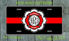 Show how much you love your Firefighter with this custom monogrammed car tag! Colors are red, white, and black - red line print pattern. Firefighters Wife, Lady, Girl, Girlfriend, Daughter, Mom with a monogram, letter or number. If your relationship is not listed let me know in the notes to seller what you would like your tag to say. If you prefer no relationship select monogram, letter or number only. This listing is for the tag colors and design you see in the picture except I will create…
