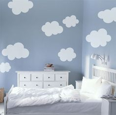 Fluffy Clouds vinyl decal wall sticker by elmostudio on Etsy could try this as DIY bloomingchildacademy.com loves this deco