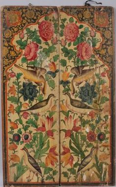 7330: Pair of antique Persian hand-painted wood panels : Lot 7330