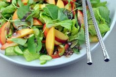 Peach & Watercress Salad #paleo. I would maybe add the shaved almonds but no goat cheese for this lady.
