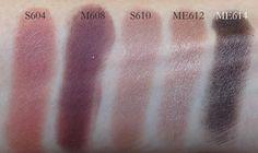 MUFE eyeshadows S604, M608, S610, ME612, ME614