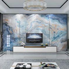 Thinner Blue and gold Marble waves abstract design 3D wallpaper art modern home art 3d Wallpaper Art, Marble Effect Wallpaper, Custom Wallpaper, Wall Art Decor, Wall Murals, Mural Art, Painting Textured Walls, Wall Painting Living Room, Exotic Art