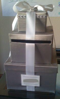 *Luxurious* Silver Satin/ White Satin Ribbon- 3 tier CARD BOX/WISHING WELL - $99 :  wedding black blue brown cake diy flowers gold green ivory orange reception red ring white Card Box2