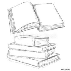 vector sketch illustration -  open book and stack of books