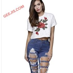 feb993794c05 Summer Crop Tops Fashion Women Short Sleeve O-neck Tee Shirt Femme Casual  Hole Rose Embroidery T Shirt Fashion 2017 Sexy Tops