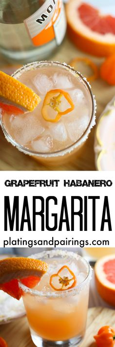 This Grapefruit Habanero Margarita recipe skips the step of infusing tequila. Instead we create a spicy simple syrup to create this delicious cocktail. Party Drinks, Cocktail Drinks, Fun Drinks, Healthy Drinks, Cocktail Recipes, Beverages, Drink Recipes, Spicy Drinks, Margarita Cocktail