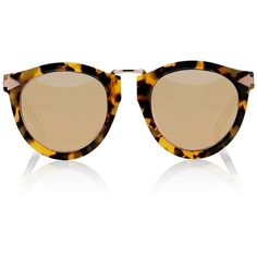 Star Sailor Round-frame Gold-tone And Acetate Mirrored Sunglasses - Yellow Karen Walker UPYrF5