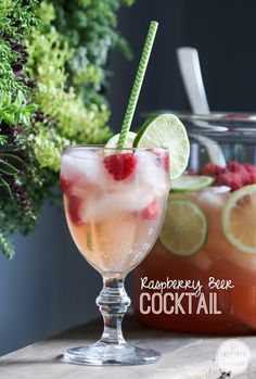 Raspberry Beer Cocktail - Inspired by Charm - Inspired by Charm Party Drinks, Cocktail Drinks, Fun Drinks, Cocktail Recipes, Alcoholic Drinks, Beverages, Drink Recipes, Cocktail Mix, Dishes Recipes