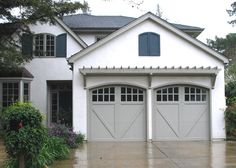 aluminum carriage house garage doors - Carriage Garage Doors New Identity Grey Garage Doors, Carriage House Garage Doors, Garage Door Paint, Garage Door Colors, Garage Door Windows, Wooden Garage Doors, Garage Door Styles, Garage Exterior, Carriage Doors