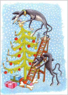 Greyhound Christmas Cards by Nigel Royall for Action for Greyhounds