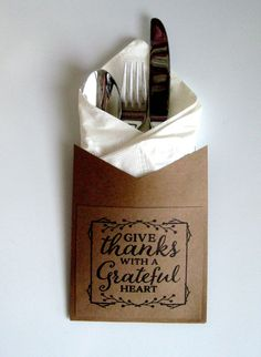 Give Thanks Utensil Holders ~ Fall Fork, Knife, Spoon Holders ~ Silverware Holders ~ Napkin Holders ~ Thanksgiving Tablescape Fall Decor Diy Party Utensil Holder, Silverware Holder, Napkin Holders, Thanksgiving Tablescapes, Thanksgiving Decorations, Thanksgiving Ideas, Holiday Ideas, How To Make Paper, Give Thanks