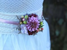 flower belt colors of autumn purple by MagaelaAccessories on Etsy