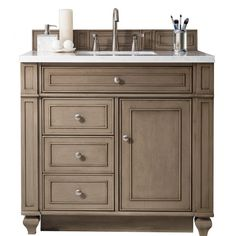 James Martin Signature Vanities Bristol 36 In. W Single Vanity In  Whitewashed Walnut With Solid Surface Vanity Top In Arctic Fall With White  Basin