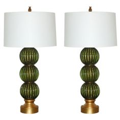 Barovier & Toso Stacked Ball Lamps in Green & Gold