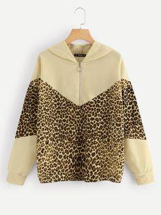 Color-Block Leopard Print Hooded Sweatshirt