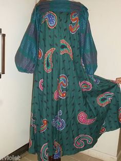 Vtg Jeanne Marc Saks Fifth Ave RARE Dress Cotton Blouson Painted Embroidered Szs | eBay