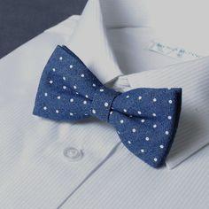 Spotty denim bow tie - nice!