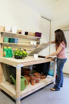 Amazing Shed Plans - Potting Table.need this either in the shed or garage Now You Can Build ANY Shed In A Weekend Even If You've Zero Woodworking Experience! Start building amazing sheds the easier way with a collection of shed plans! Potting Bench Plans, Potting Tables, Potting Sheds, Potting Bench With Sink, Diy Shed Plans, Garage Plans, Garage Gym, Potting Station, Building A Shed