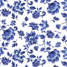 Fleurs de Provence ~ Provencal ~ Blue and White  fabric by peacoquettedesigns on Spoonflower - custom fabric