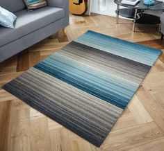 Miko Designs - Stripes Blue / Taupe Rugs | Modern Rugs
