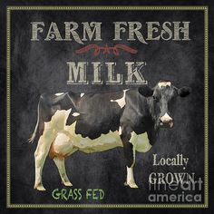 Created by Jean Plout, digital art with some hand painted elements. Farm Fresh typography sign would be great in your kitchen or restaurant. Vintage Diy, Images Vintage, Vintage Farm, Vintage Labels, Vintage Pictures, Vintage Signs, Farm Signs, Farm Art, Cow Art