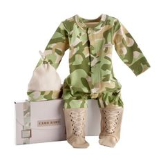 Baby Aspen Big Dreamzzz Baby Camo Layette Set with Gift Box, Tan, 0-6 Months