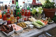 Bloody Mary Bar---love the shrimp, hearts of palm and bacon