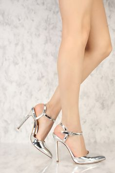Silver Sling Back Pointy Toe Single Sole High Heel Metallic Patent Hot High Heels, High Heel Pumps, Womens High Heels, Pumps Heels, Stiletto Heels, Colorful Shoes, Silver Shoes, Spring Shoes, Lace Up Heels