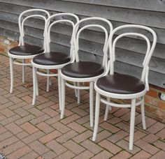 FABULOUS VINTAGE SET OF 4 BENTWOOD CAFE BISTRO CHAIRS WITH LEATHER SEATS.   eBay £140.00