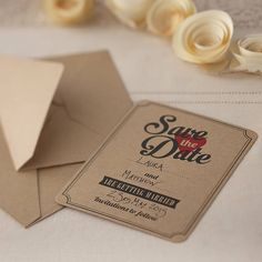 brown kraft 'save the date' wedding invites by ginger ray | notonthehighstreet.com