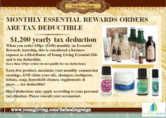 YL Business Tip: Secure wellness for yourself and get a tax write off purchasing $100 monthly through Young Living's Essential Rewards. - https://www.youngliving.com/signup/?sponsorid=1593634&enrollerid=1593634