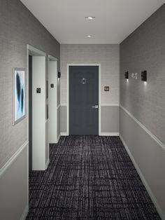 Door Number Sign, Door Numbers, Hotel Corridor, Corridor Design, Hallway Designs, Condo, Bathtub, Interior Design, Building